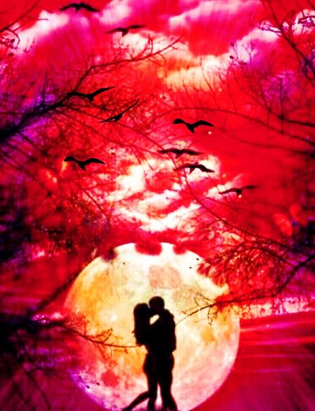 Digital art, overs, red hot Love, red~pink tones, large moon, beauty of nature,moonlight,tree canopy:::: by Cindy Sue Truman©️ Digital Art