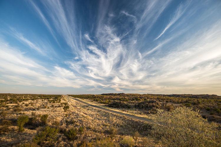 Panoramic shot of land road against sky