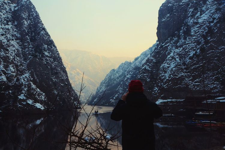 The Great Outdoors - 2017 EyeEm Awards Rock Formation Rock Formation Nature Natural Creation Canyon Matka Canyon Nature Head Back Water Lake Ourdoors Landscapephotography Landscape With People In One Person Nature Cold Temperature Snow On Canyon Snow The Week On EyeEm
