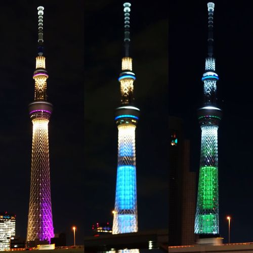 Sky tree three changes Tokyo Tokyosytree Illuminated Tower Built Structure Architecture Tall - High Skyscraper Night Building Exterior City Tall Communications Tower Modern Office Building Blue Sky Outdoors Oriental Pearl Tower Urban Skyline City Life Spire