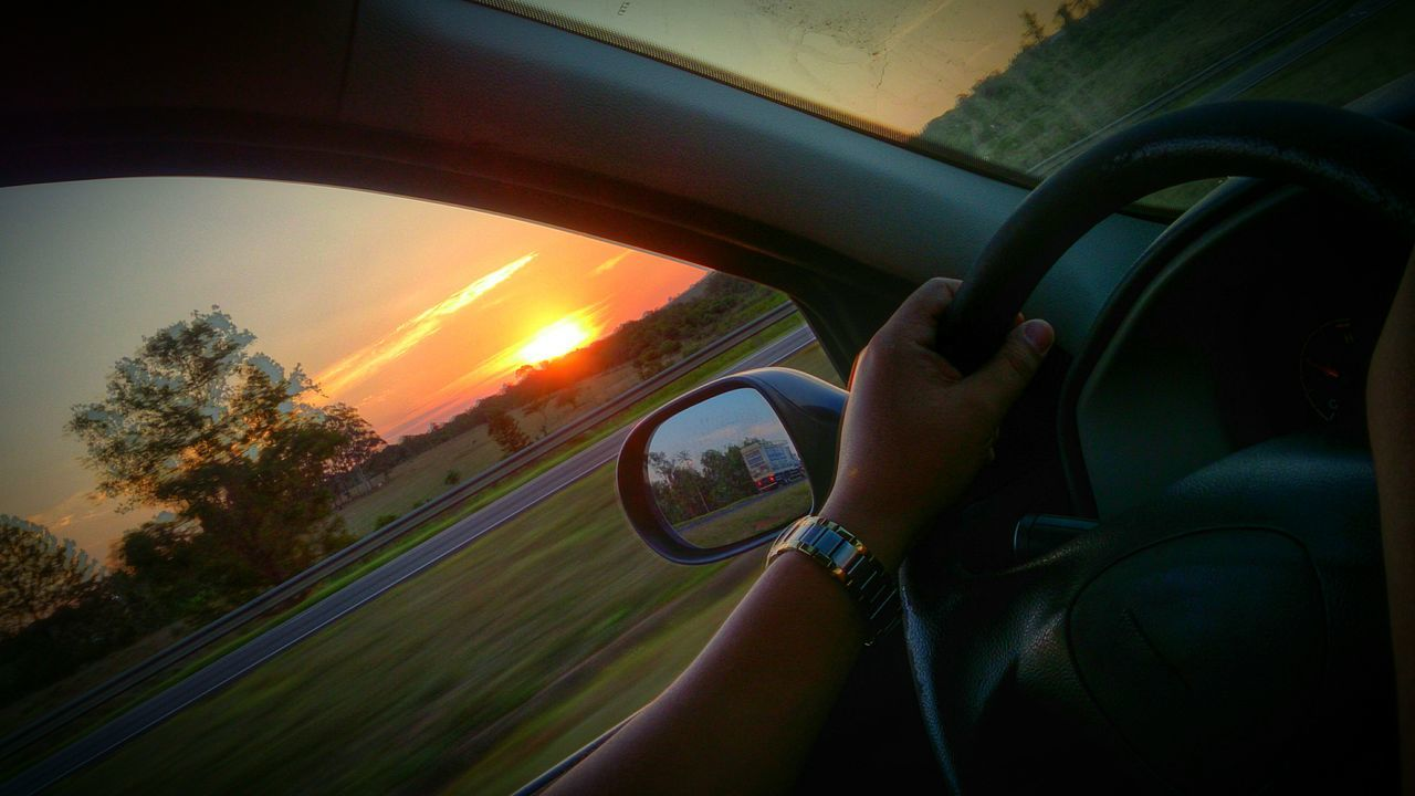 vehicle interior, transportation, real people, human hand, one person, car, tree, land vehicle, travel, nature, sunset, journey, sky, road trip, day, men, human body part, beauty in nature, close-up, outdoors, people