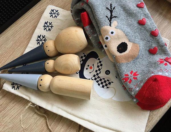 Winter Holiday New Year Present Socks Deer Trivia Wooden Figures Happy Snowman