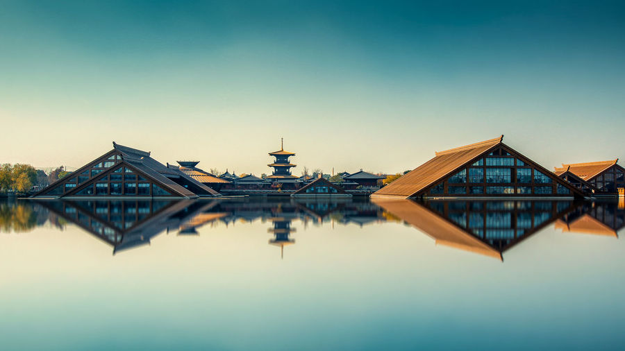 Architecture Historical Building Ancient Village Architecture Building Built Structure Chinese Clear Sky Copy Space Culture History No People Outdoors River Sky Water