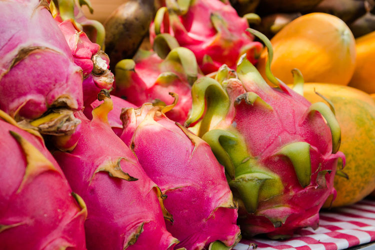 dragon fruit Abundance Close-up Day Focus On Foreground Food Food And Drink For Sale Freshness Healthy Eating Market Market Stall No People Pink Color Pitaya Raw Food Retail  Selective Focus Still Life Vegetable Wellbeing