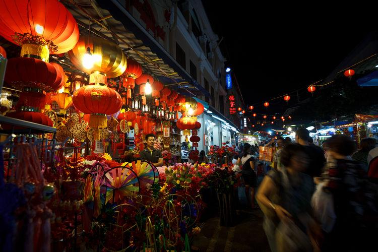 Chinatown Chinatown City City Life Decoration Illuminated Lampions Lantern Large Group Of People Market Market Stall Night Singapore Store