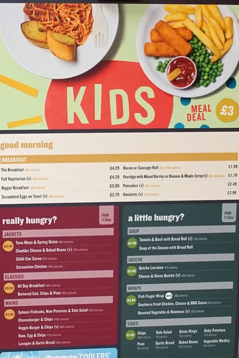 Kids Menu Cafe Menu Close-up Communication Day Food Food And Drink Food Restaurant Indoors  No People Ready-to-eat Supermarket Restaurant Text Uk Supermarket