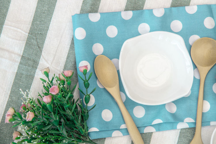 my mini picnic set Close-up Directly Above Eating Utensil Flower Food And Drink High Angle View No People Polka Dot Table Tablecloth