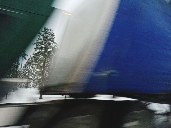 Semi Truck Speed Speeding Winter Outdoors Tree Motion