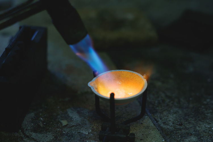 Close-up of welding torch burning metal