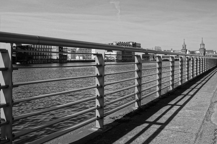 diagonal ... Architecture Architecture_bw Architecture_collection Berlin Built Structure City Connection Day Diagonal Diagonal Lines Empty Fence Geländer Lines No People Oberbaumbrücke Outdoors Railing River Shadow Spree The Way Forward Ufer