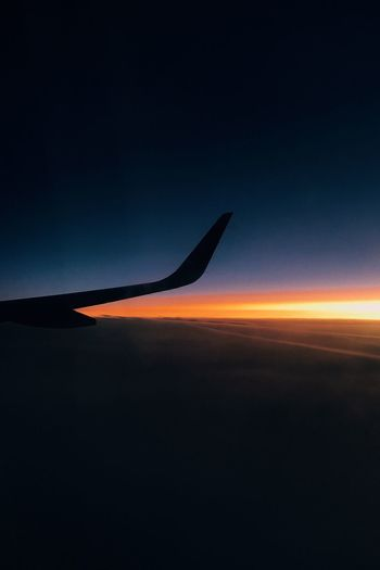 Until next time. Transportation Sky Mode Of Transport Nature Airplane Sunset Beauty In Nature Scenics No People Air Vehicle Outdoors Blue Airplane Wing Day Astronomy
