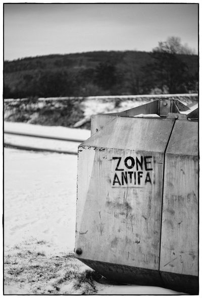 Zone Antifa Barrel Blackandwhite Close-up Communication Day Lawoe No People Outdoors Text Western Script