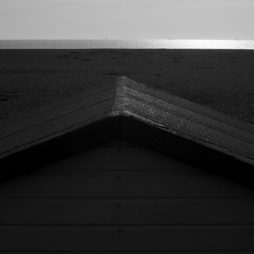 Beyond The Beach Hut Architecture Built Structure No People Sky Day Nature Wood - Material Horizon Outdoors Water Horizon Over Water Sea Sunlight Beach Hut Blackandwhite Black And White