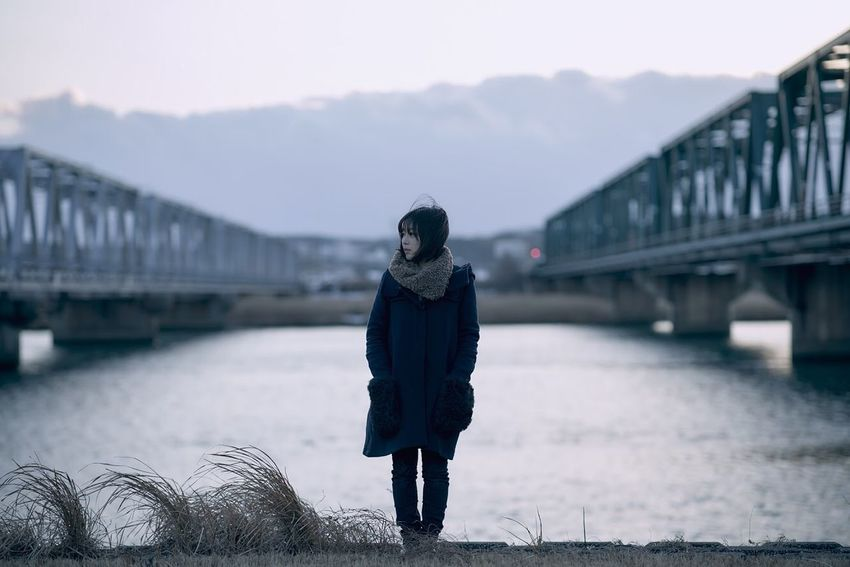 Bridge Bridge - Man Made Structure One Person Architecture Connection Winter Built Structure Water Real People Transportation Leisure Activity Nature Standing Lifestyles Cold Temperature Clothing Day Sky Warm Clothing Outdoors