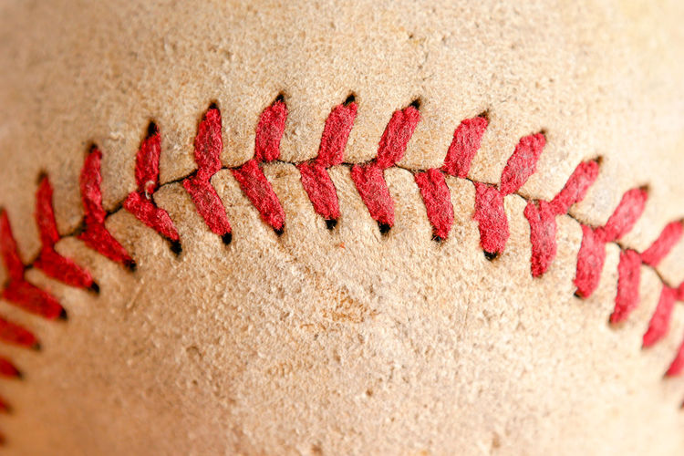 Close-up of stitches on ball
