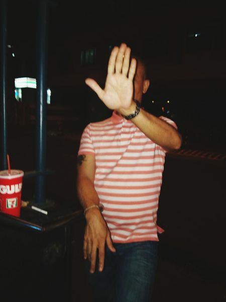 Stop One Person Only Men One Man Only Adults Only Indoors  People Adult Day Human Body Part The Hand Hand Street Photography Paparazi Asian Culture Southeast Asia Pinoy Asian  Adult Black Background Eyeem Philippines Shy Bald No Hair