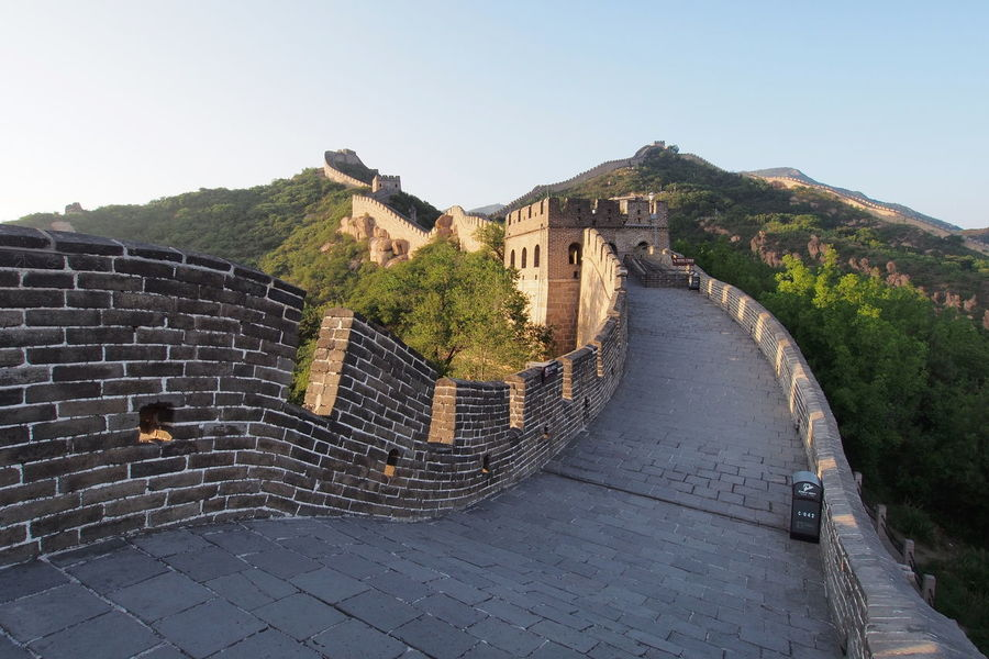 Great Wall of China at Badaling, near Beijing. Architecture Beauty In Nature Building Exterior Built Structure Castle Clear Sky Day History Lowlight Mountain Nature No People Outdoors Sky Travel Destinations