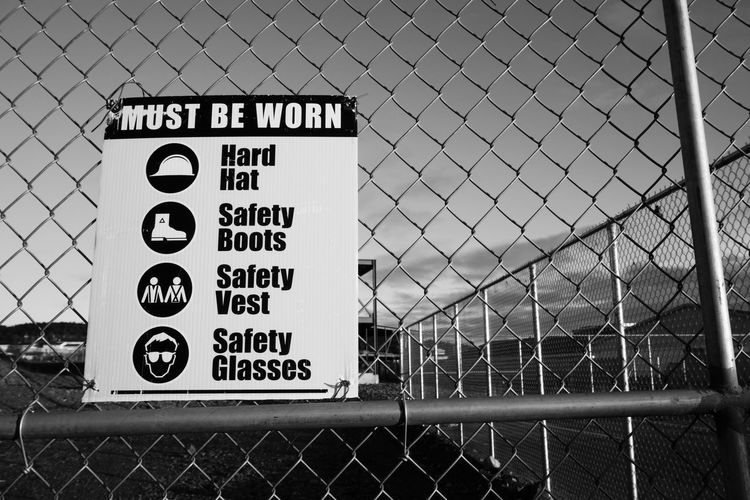 Safety Black And White Construction Site Safety Sign Safety First
