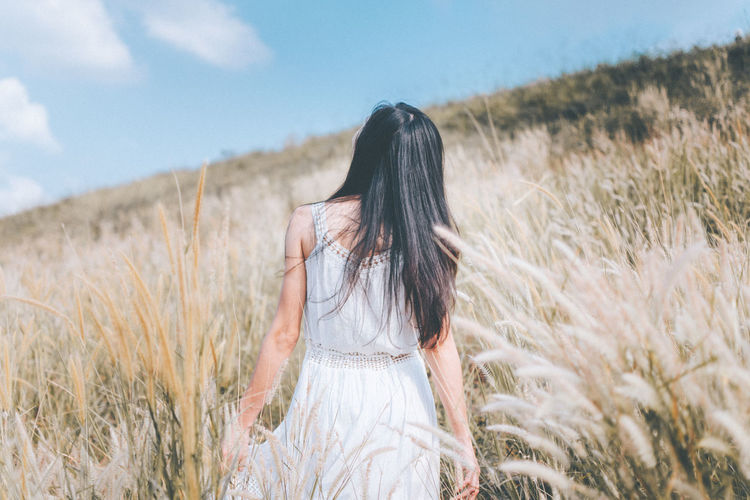 Cloud Dress Happy Nature Rear View Flower Long Hair Longhair Meadow People Sky White
