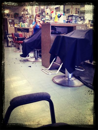In The Hood Getting This Hair Cut.