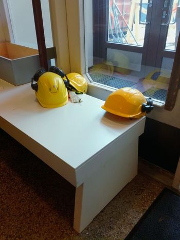 Paint The Town Yellow Helmets Safety First Indoors  Lobby Hallway Doorway