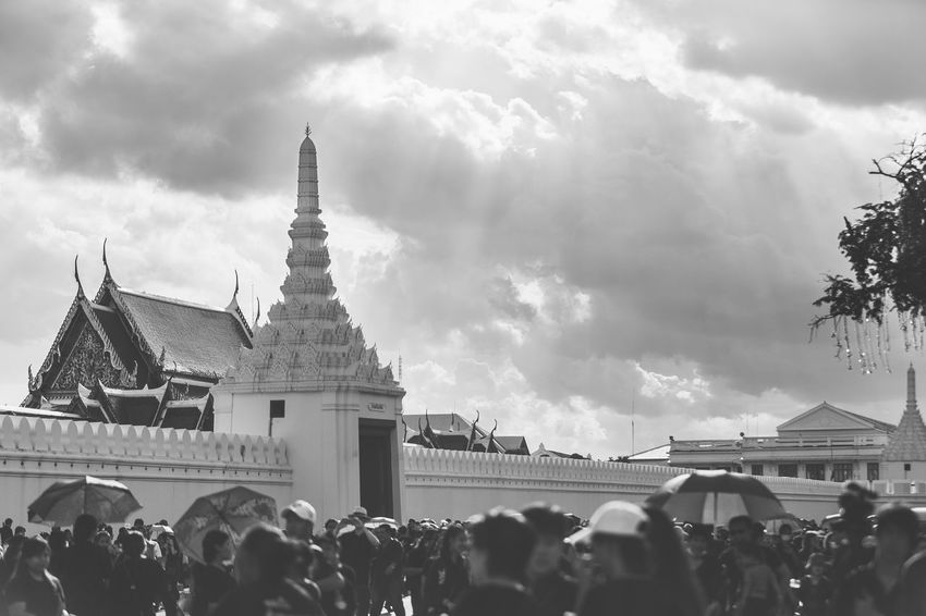 Sanam Luang B&W Adult Architecture Black And White Blackandwhite Building Exterior Built Structure City Cloud - Sky Crowd Day Lanscape Large Group Of People Leisure Activity Lifestyles Men Outdoors People Place Of Worship Real People Sanam Luang Sanam Luang Bangkok Sky Spirituality Temple Thailand