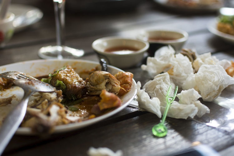 Close-up of food served on table