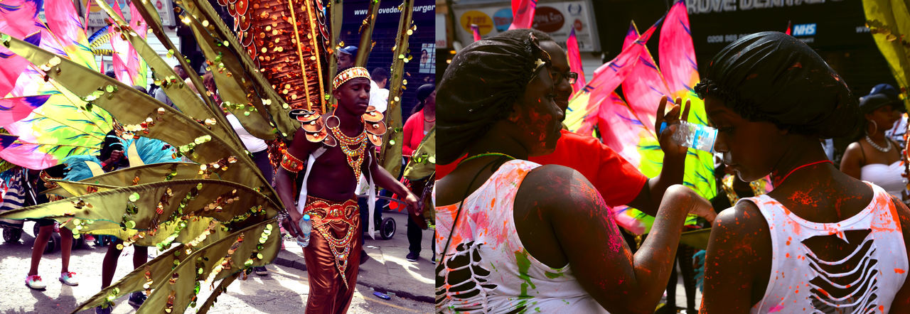 Notting Hill Carnival Carnival Carnival Costume Carnival Spirit Colorful Colours Coloursplash Costumes Day Full Frame Jamaican Jamaican Vibes Large Group Of Objects London London Carnival LONDON❤ Multi Colored Music Nottinghill Carnival Party Party In The Street Pink Color Vibrant Color
