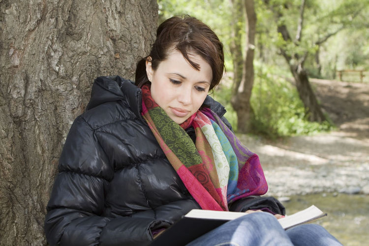 Girl Reading Bible in Nature Bible Christian Religion Faith Belief Born Again Spirituality Wisdom Disciple Studying Female Meditating Reading Bible Study Nature Forest Outdoors Learning Woman