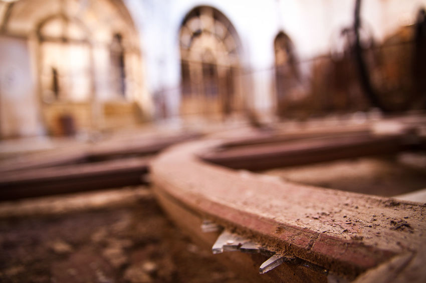 Sardegna, Montevecchio, Arbus Architecture Bench Broken Glass Building Exterior Close Up Close-up Decadence Decay Decay And Dereliction Macro Macro Photography Mine No People Outdoors Rail Transportation Railroad Track Sardegna Selective Focus Transportation
