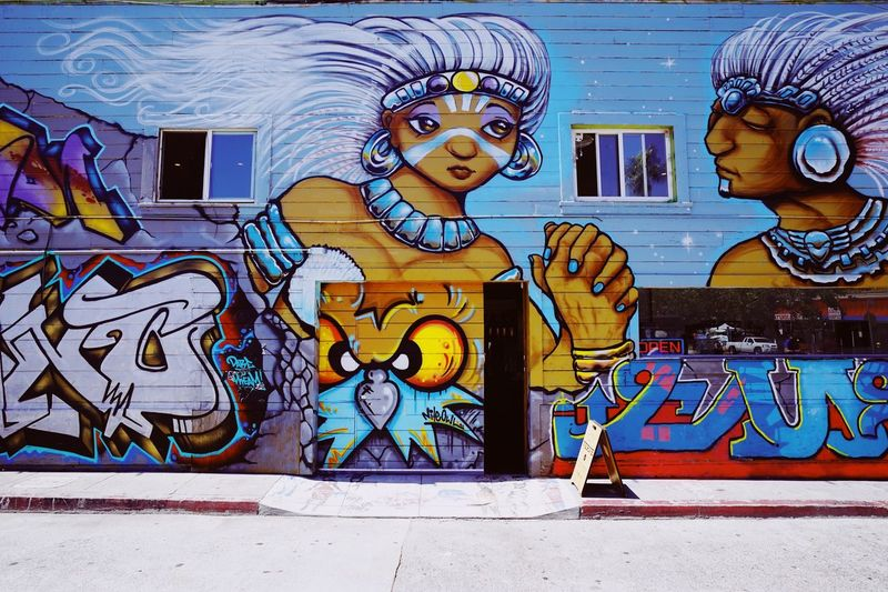 San Francisco mission mural // Verve coffee Art And Craft Creativity Human Representation Representation Graffiti Street Art Wall - Building Feature Outdoors Mural Built Structure Multi Colored Architecture No People
