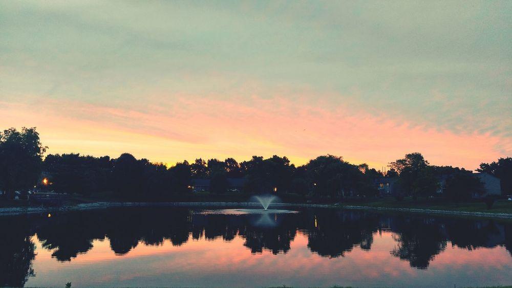 Lake. Sunset Colorful Reflection