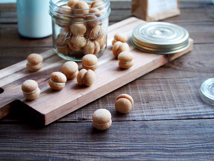 Baci di Dama...Italian almond cookie Temptation Cookies Sweet Focus On Foreground Table Wood - Material Food Food And Drink Still Life Table No People Cutting Board Close-up Wellbeing