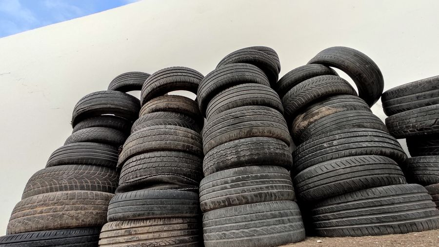 Low angle view of stack of roof