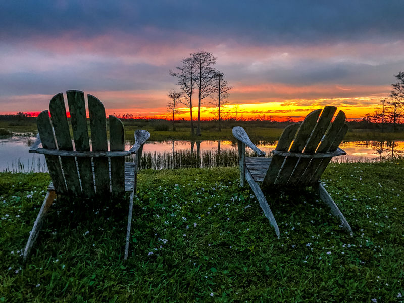 sunset and cypress swamps Adirondack Chairs Contemplation Cypress Tree Louisiana North Carolina Relaxing River View Silhouette South Carolina Sunset_collection Swamp View Chairs Cypress Trees  River Riverbank Riverscape Sunset Swamplife
