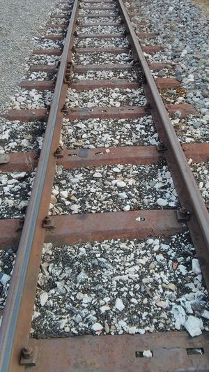 Railroad Track Transportation Rail Transportation Day High Angle View Railroad Tie Metal
