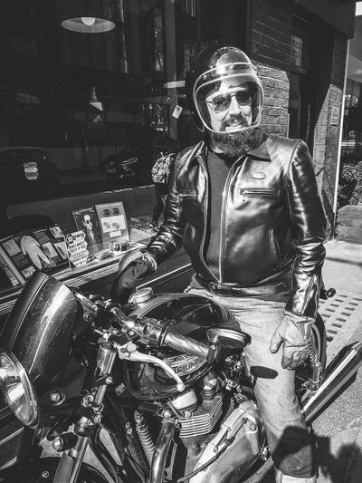 The gentleman tailor 2/4 Lewis Leathers Motorcycle Adult Clothing Crash Helmet Front View Helmet Jacket Land Vehicle Leather Leisure Activity Mode Of Transportation Motorbike Motorcycle Motorcycles One Person Portrait Real People Transportation Triumph Motorcycle Triumphmotorcycles