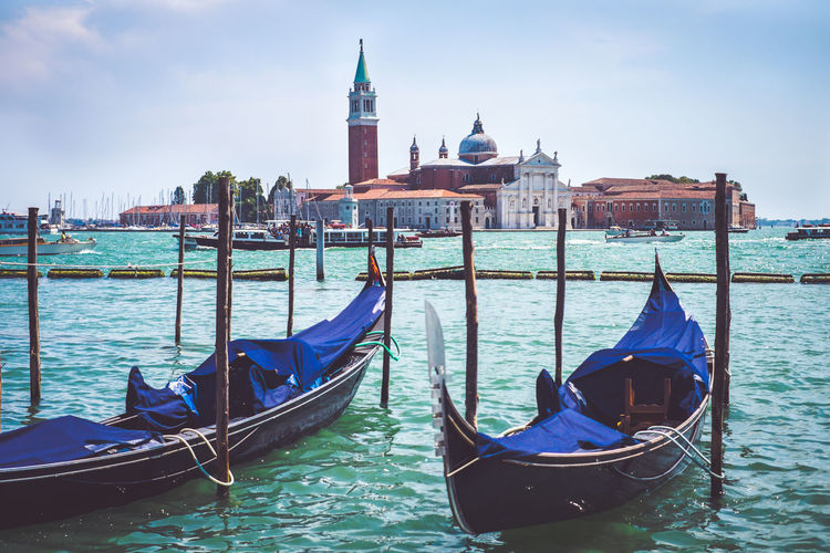 Gondolas parked on the grand canal