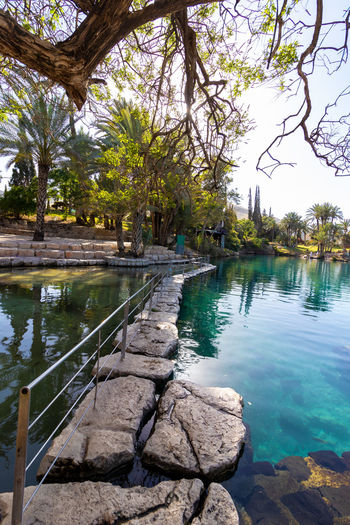 Scenic view of swimming pool by lake