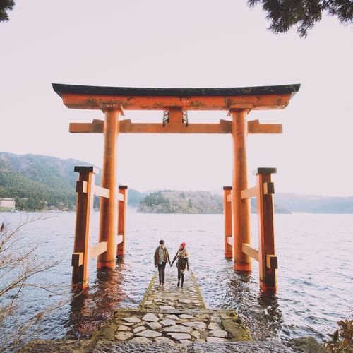 Enjoy The New Normal Travel Destinations Travel Photography Japan Japanese Culture Japanese Temple Shinto Shrine Torii Gate TORII Hakone Japan Hakone Shrine Married Couple Travelers Travel Buddy Emojisinthewild Connected By Travel Lost In The Landscape