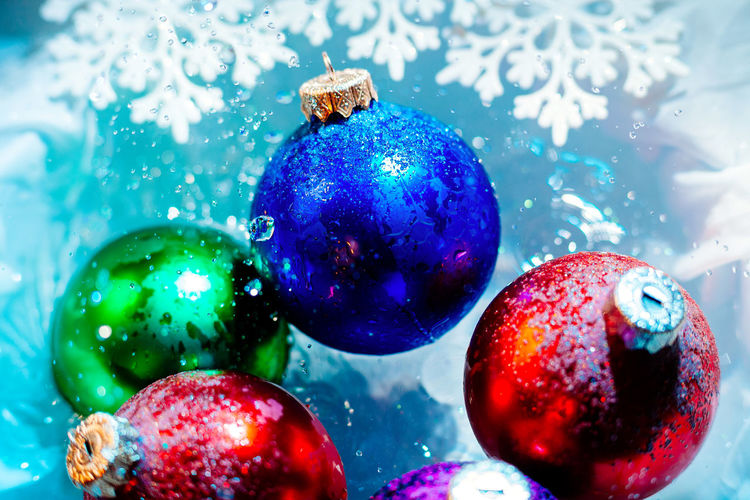 Close-Up Of Colorful Christmas Decorations