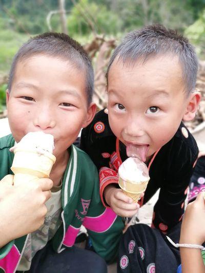 Portrait of boy with ice cream