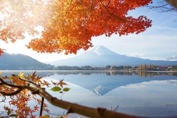 Scenic view of lake by mt fuji against sky