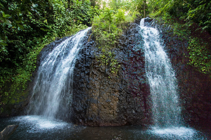 a waterfall in tahiti French Polynesia Travel Beauty In Nature Blurred Motion Falling Water Flowing Flowing Water Forest Land Long Exposure Motion Nature No People Pacific Ocean Power In Nature Rain Forest Rock Rock - Object Scenics - Nature Solid Splashing Stream - Flowing Water Tree Water Waterfall The Great Outdoors - 2018 EyeEm Awards