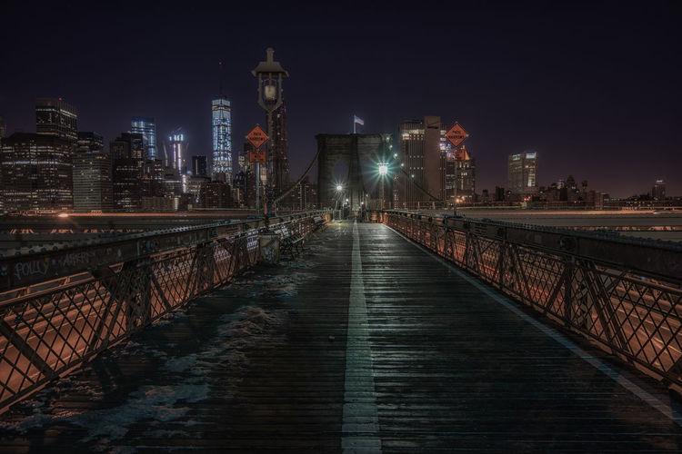 Surface level of footbridge against buildings