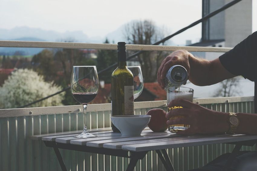 Adults Only Alcohol One Person Only Men One Man Only Drink Food And Drink People Adult Wine Human Body Part Day Men Outdoors Wineglass Drinking Glass Water Human Hand Balcony Mixing Food And Drink Freshness Balcony View Social Issues