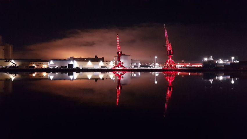 Architecture Building Exterior Built Structure Crane - Construction Machinery Dockside Dockside Cranes Dockside View Factory Fuel And Power Generation Illuminated Industry Nature Night Outdoors Pollution Power Station Red Reflection River Sky Water Waterfront