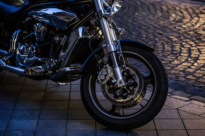 Motorcycle in the city Bike Rider EyeEm Gallery Motorcycle Night Lights Reflection Tires Close-up Details Eye4photograghy Eye4photography  Light And Shadow Mode Of Transport Motor Vehicle Motorbike Motorcycle Motorrad Fahren No People Outdoors Street Streetphotography Transportation