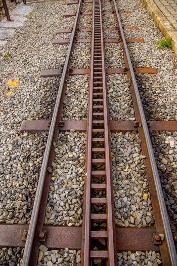 High angle view of railroad tracks on street