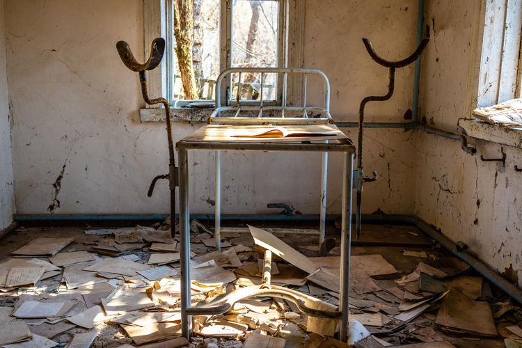Broken window in abandoned building